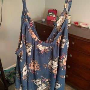 BLUE FLORAL BUTTON-FRONT GEORGETTE CAMI